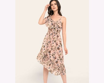 Floral Pastel Pink Asymmetrical Hem Midi Fit and Flare Dress Ruffled One Shoulder  XS S M L XL - By The River Collection Women Lotus Summer