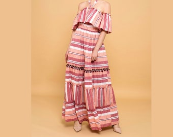 Multicolored Pink Red Striped Off-Shoulder Maxi Long Dress Halter Neck Pom Pom XS S M L XL - By The River Collection Women Layla Summer