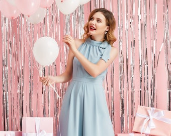 Bow Tie Neck Halter Neck Jumpsuit Romper Drapey Wide Legs w/ Pockets Blue Holiday Party 2018 - By The River Collection Women Dress Meryl