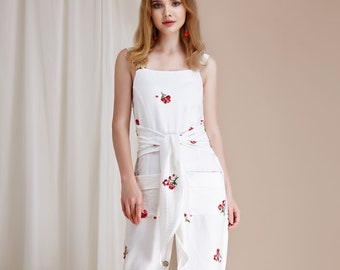2019 New Summer White Floral Embroidered Button Front Midi Kita Dress Tie Front w/ Pockets - By The River Collection Women - Best Seller