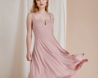 Custom Color U-Wire Scooped Neck Fit & Flare Midi Dress Pockets Flowing Skirt Mid Calf Pink White - By The River Collection Women Kensley