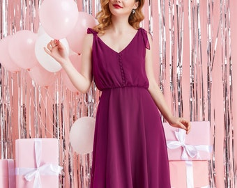 2019 Summer Beautiful Midi Dress Bow Tie V-neck Chiffon Twirl Accent Button Sleeveless - By The River Collection Women Poppy - Custom Color