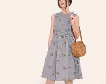 By The River Collection Women Laguna Summer Ruffled Floral Embroidered Black White Striped A-line Sleeveless Midi Dress XS S M L XL