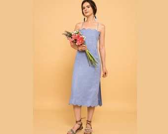 Blue Linen Midi Dress Scallop Trims Relaxed Slip-on Adjustable Lace up Sleeveless - By The River Collection Summer Women Melanie XS S M L XL