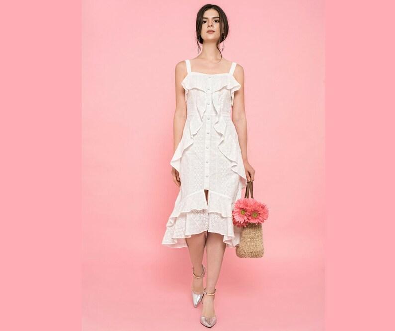 880e5de08d723 White Lace Eyelet Midi Dress Ruffled Tiered Hem Accent Button