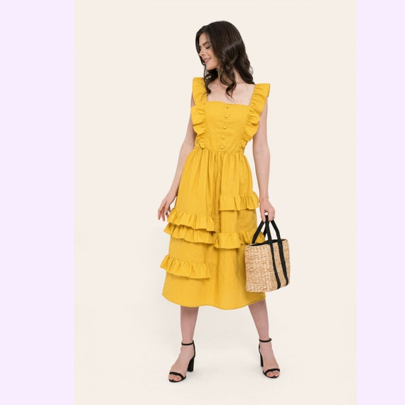 By The River Collection Women Abby Summer Fit and Flare A Line Blue Linen Midi Dress Square Neck Ruffle Skirt Elastic Waist XS S M L XL