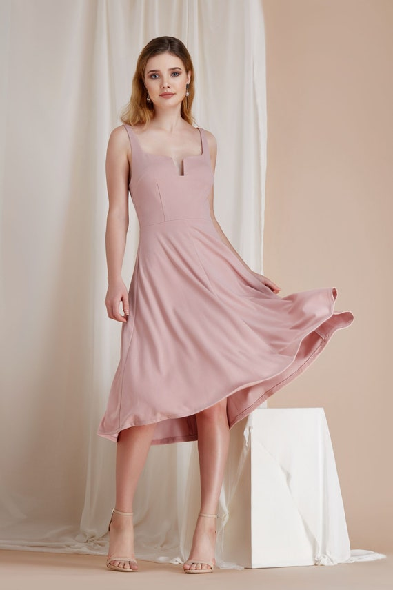 Custom Color U Wire Scooped Neck Fit & Flare Midi Dress Pockets Flowing Skirt Mid Calf Pink White By The River Collection Women Kensley