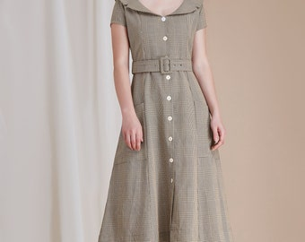 Belted Plaid Midi Dress w/ Pocket Short Sleeve Wide Collar Neckline Multi Gray Full Skirt Vintage - By The River Collection Woman Maggie
