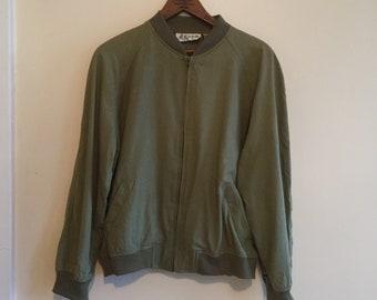 Raw Silk Olive Green Bomber Jacket