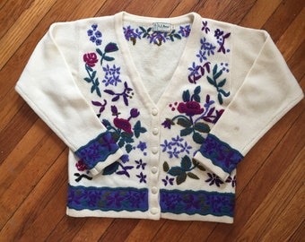 L.L. Bean Floral Embroidered Cardigan Sweater