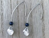 Pipa Earrings - Navy - Polished Rhodium Plated pull through earrings, Swarovski Pearl, and a textured Polished Rhodium Plated coin pendant