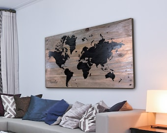 Wood world map etsy large rustic world map 16x2418x242440 rustic dcor wood wall dcor map art wood world map wooden sign map art pallet art gumiabroncs Gallery