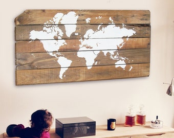 Wood world map etsy large rustic world map 16x2418x242440 rustic dcor wall dcor map art wood world map wooden sign map art pallet art gumiabroncs Gallery
