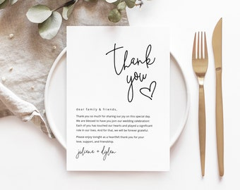Editable Template Modern Script Thank You Folded Card Heart Wedding  Bridal Shower Note Templett #090-154TYC Instant Download