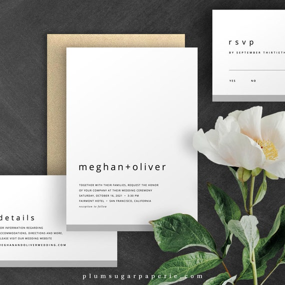 Minimalist Wedding Invitations Printable Template Modern