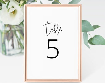 Modern Table Number Card • Minimalist Wedding Table Number Card Template • Script Font • Instant Download, 100%, Editable • PS338-05