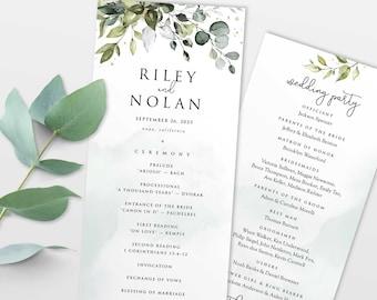 Eucalyptus Greenery Boho Wedding Program Template • DIY Editable Printable, Instant Download • PS337-06