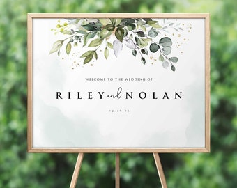 Boho Greenery Wedding Welcome Sign Eucalyptus Leaves • Large, Poster Size DIY Printable, Instant Download • PS337-08