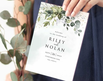 Boho Greenery Folded Wedding Program Template with Eucalyptus Leaves • DIY Printable, Instant Download • PS337-04