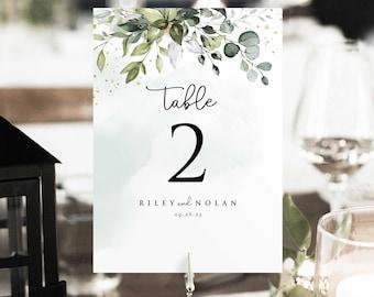 Wedding Table Number • Eucalyptus Greenery Boho • DIY Editable Printable, Instant Download • PS337-07