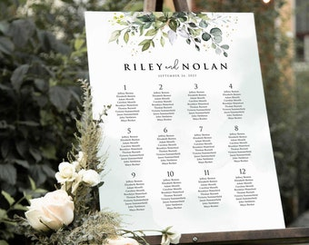 Boho Greenery Wedding Seating Chart Sign Eucalyptus Leaves • Large, Poster Size DIY Printable, Instant Download • PS337-13