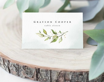 Wedding Place Cards Boho Greenery Folded and Flat Place Card Templates with Eucalyptus Leaves • DIY Printable, Instant Download • PS337-09