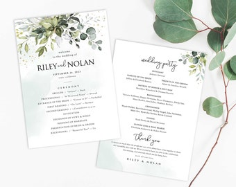 Watercolor Boho Greenery Wedding Program with Eucalyptus Leaves • Printable, Editable Template, Instant Download • PS337-03