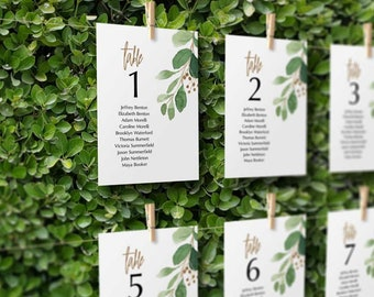 BOHO Eucalyptus Greenery Seating Cards Wedding Signage, Editable Printable Template, Instant Download | PS304-09