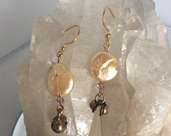 Pearl Brass Bells Gold Swarovski Crystal Earrings
