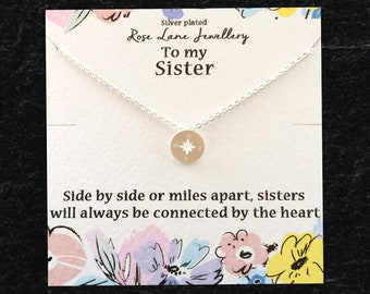 fca88610aa Rose Lane 'To my Sister' silver plated charm necklace 'Side by side or miles  apart' - comes with gift box and gift card