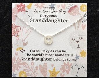 Granddaughter JewelleryGranddaughter Birthday Gift Heart Charm Necklace Beautiful Grandma Jewelry