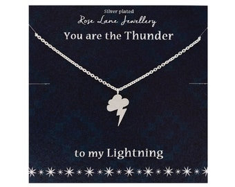 1665ad5a6b Rose Lane 'You are the Thunder' silver plated charm necklace 'To my  lightning' - comes with gift box and gift card