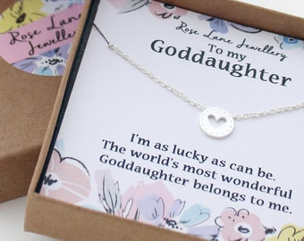 rose lane to my goddaughter silver plated charm necklace im as lucky as can be comes with gift box and gift card