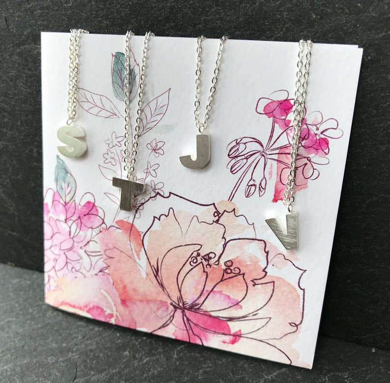 Monogram Necklace Jewelry Delicate Fine silver Chain Initial necklace,Initial A special gift. Personalised Letter Necklace,Initial charm