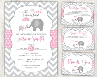 Elephant Baby Shower Invitation Etsy
