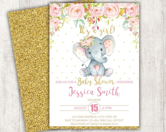 Elephant baby shower invitations etsy elephant baby shower invitation set baby elephant girl baby shower invite rustic baby shower set baby girl theme elephant theme digital filmwisefo