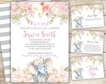 Girl baby shower invitations etsy elephant girl baby shower invitation set pink girl safari baby shower invite pink elephant baby shower set baby girl theme elephant set filmwisefo
