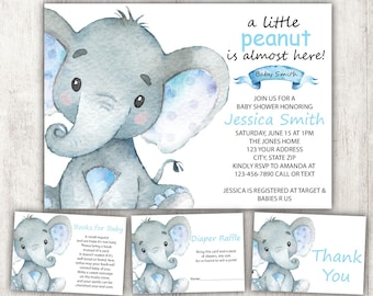 Baby shower invitation etsy boy elephant baby shower invitation elephant safari baby shower invite blue elephant invitationbaby shower setbaby boy themedigital filmwisefo