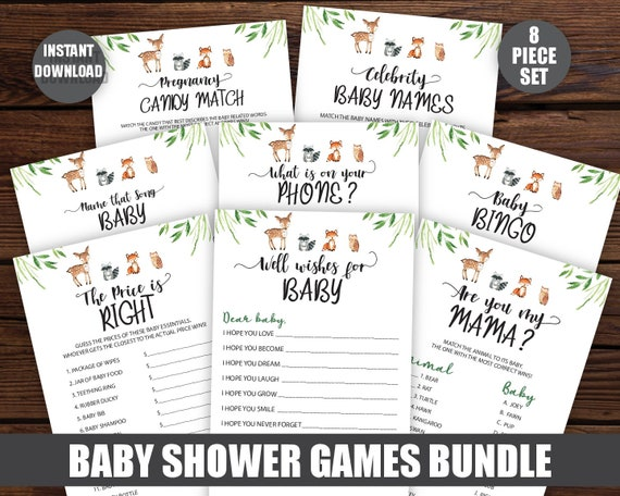 Woodland Baby Shower Game Package Printable Games boy girl