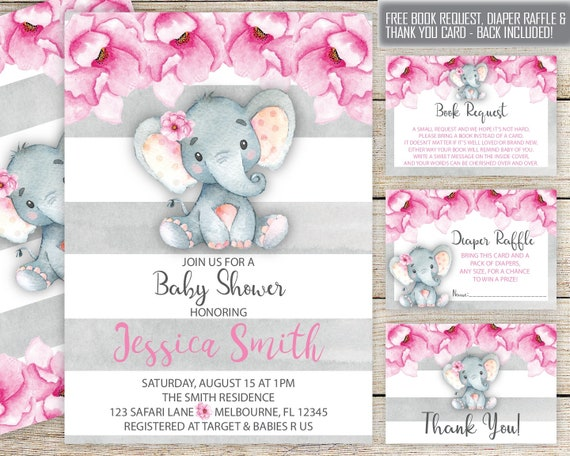 Elephant Baby Shower Invitation Girl Set Baby Elephant