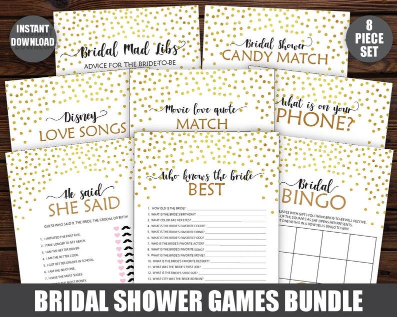 Instant Download Bridal Shower Games Activities Pack Printable Wedding Shower Games Printable Bridal Shower Package 8 Games Bundle
