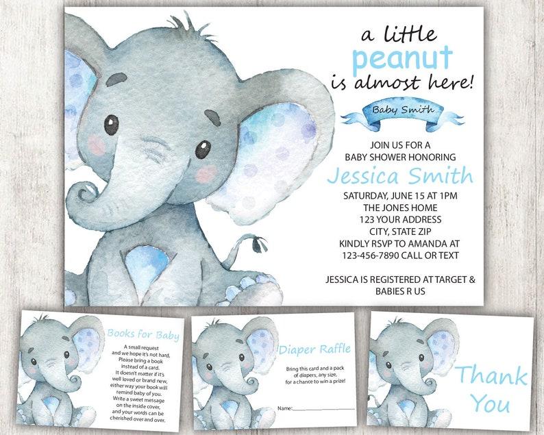 Elephant Baby Shower Invitation Boy Elephant Safari Baby Etsy