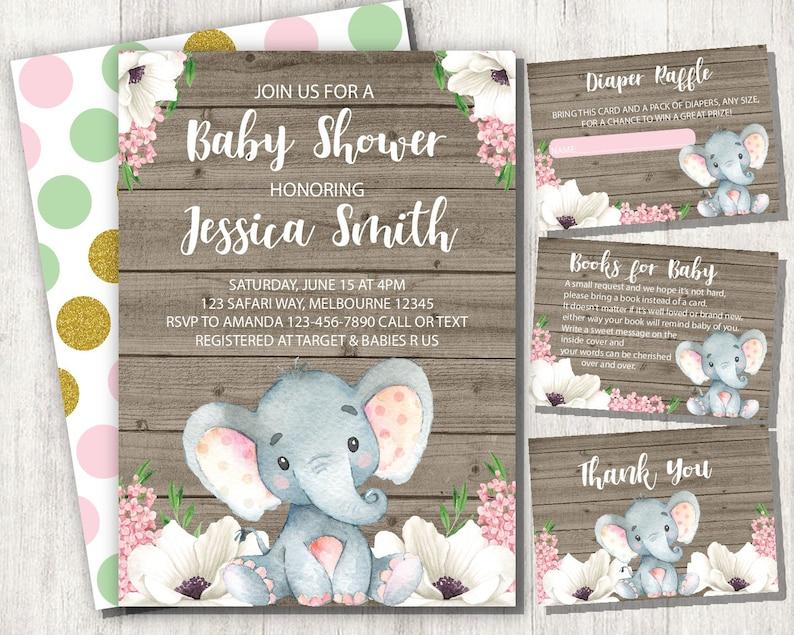Elephant Baby Shower Invitation Girl Set Baby Elephant Girl Etsy