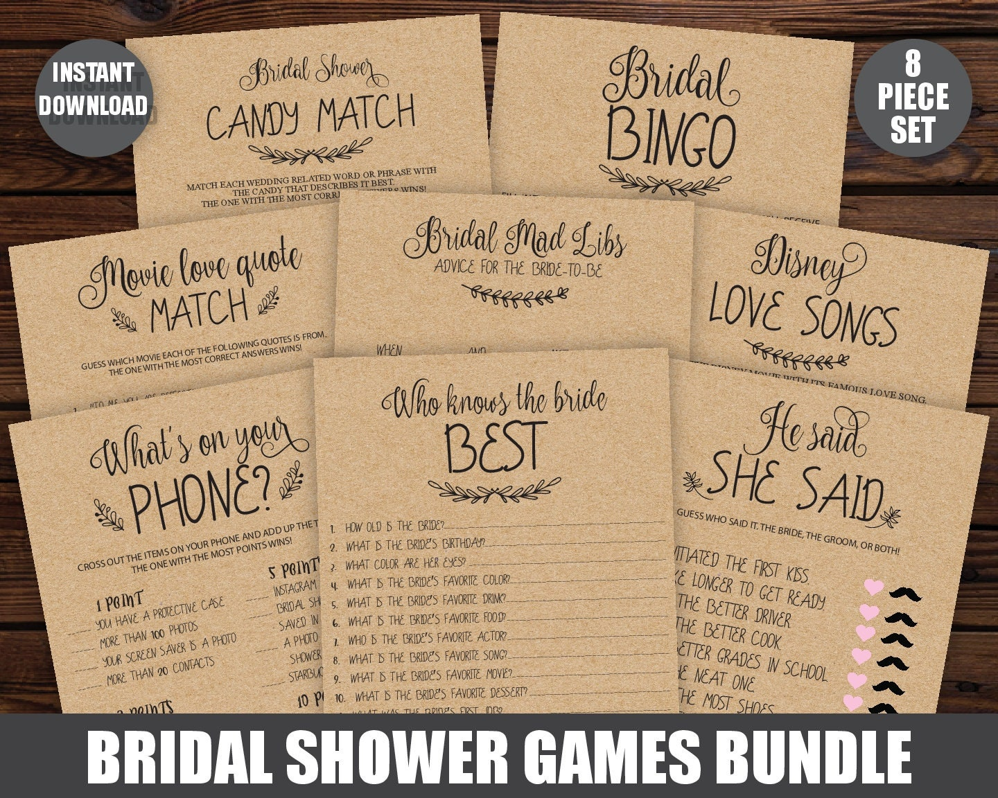 printable bridal shower package bridal shower games 8 games etsy