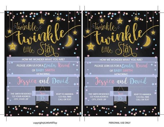 Gender Reveal Invitation, Gender Reveal Invite, Twinkle Little Star Gender  Reveal, Gender Reveal, Gender Neutral, Instant Download, Digital