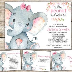 Elephant baby shower invitation etsy elephant baby shower invitation set baby elephant girl baby shower invite rustic baby shower set baby girl theme elephant theme digital filmwisefo