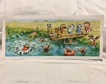 Nursery Wall Art W.M Cartoon Animals 1970s Art Print Kids Wall Art Otto Lithograph Print