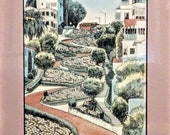 1990 39 s Lithograph, Modern Vintage, Lombard St. San Francisco, Pencil Signed, Hand Colored