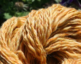 Golden Merino Handspun Yarn Plyed with Thread