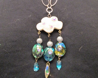 Rain cloud necklace, handmade jewelry, no clasp, over the head wear